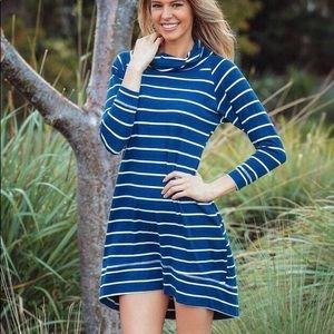 Cowl Neck Striped Jersey Dress